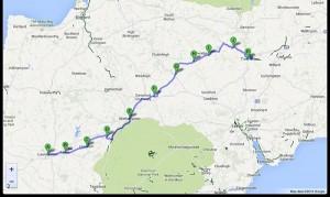 Launceston-Tiverton (Devon) 50 miglia. 25-7-13